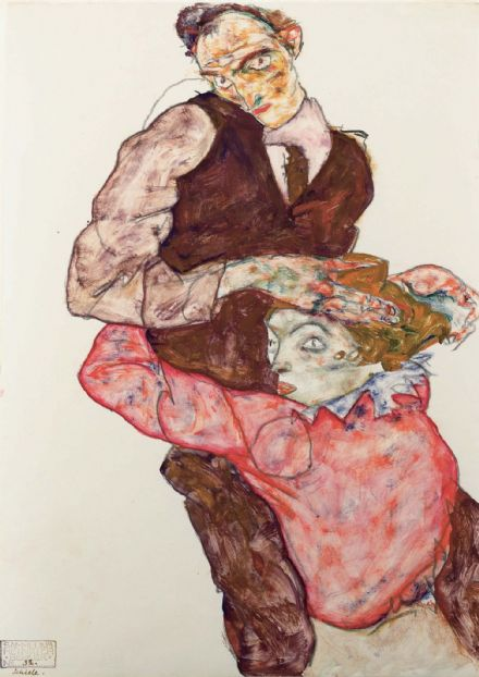 Schiele, Egon: Lovers. Fine Art Print/Poster. Sizes: A4/A3/A2/A1 (003689)